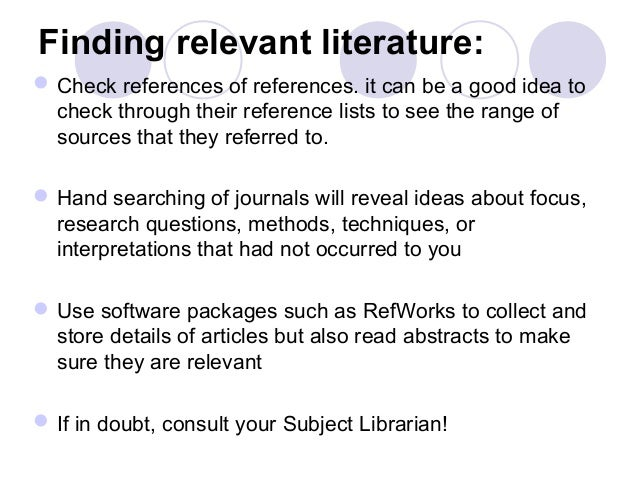 Relevance of literature review in research