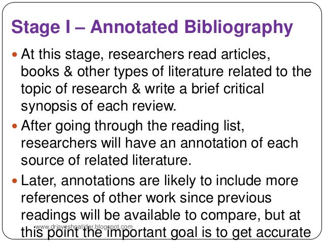literature review in research an annotated bibliography Literature review outline and annotated bibliography research three published research articles: one quantitative research study, one qualitative research study, and.