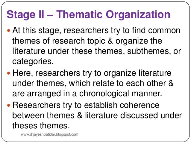 Organization of literature review