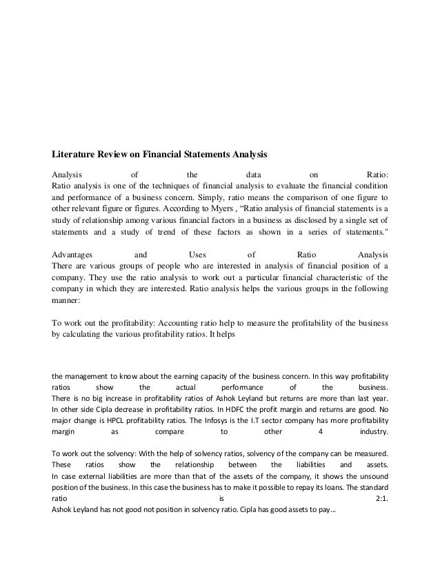 review of literature for financial statement analysis The international review of financial analysis (irfa) is a non-affiliated refereed journal whose primary goal is to provide an outlet for high.