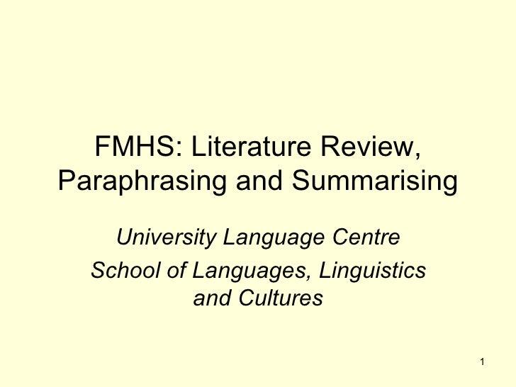 Literature Review, Paraphrasing And Summarising