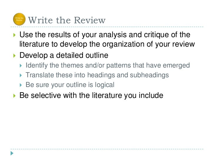 Do critical analysis literature review