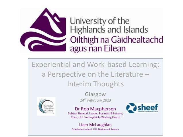 University of the Highlands and Islands, Business and Leisure, Literature Review Presentation 2013