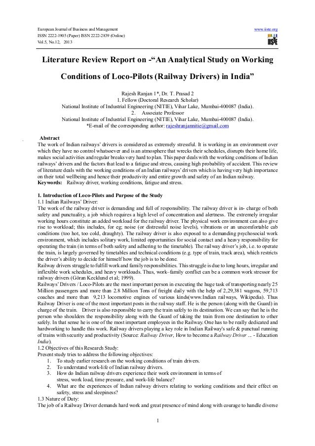 """Literature review report on  """"an analytical study on working conditions of loco-pilots (railway drivers) in india"""""""