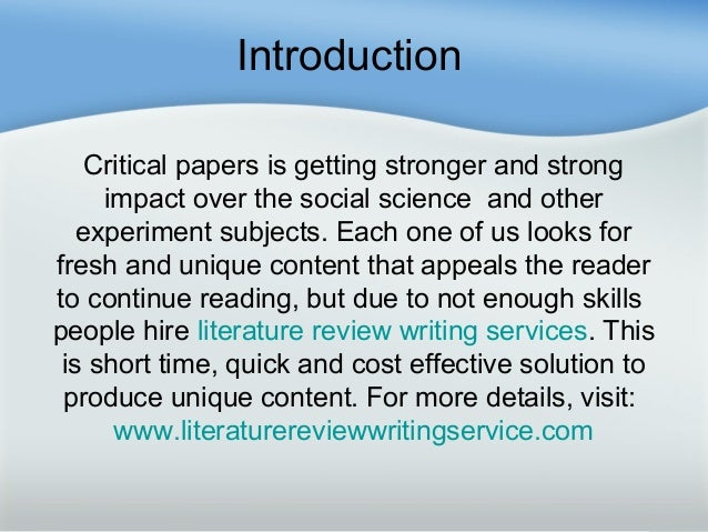 HOW TO WRITE A LITERATURE REVIEW by ermalos