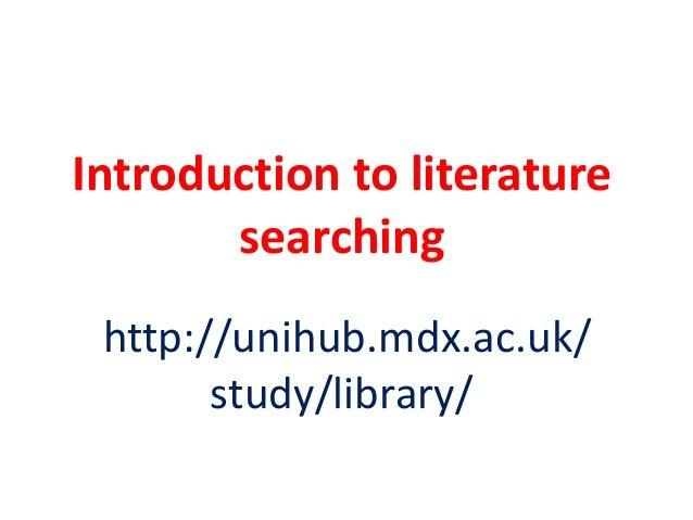 Literature searching BSc Veterinary Nursing year 1 2013