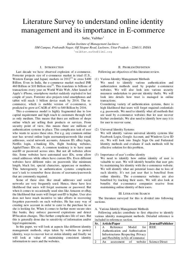Literature survey on identity management