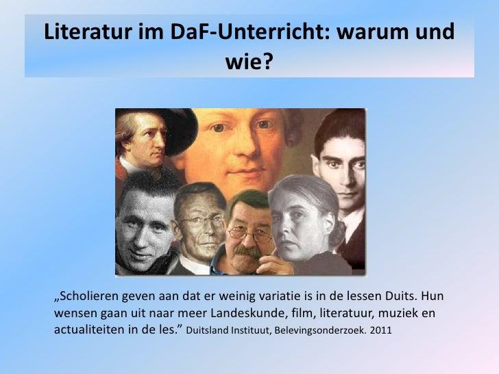 """LiteraturimDaF-Unterricht: warumund wie?<br />""""Scholieren geven aan dat er weinig variatie is in de lessen Duits. Hun wens..."""
