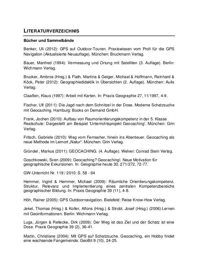 LITERATURVERZEICHNISBücher und SammelbändeBenker, Uli (2012): GPS auf Outdoor-Touren. Praxiswissen vom Profi für die GPSNa...