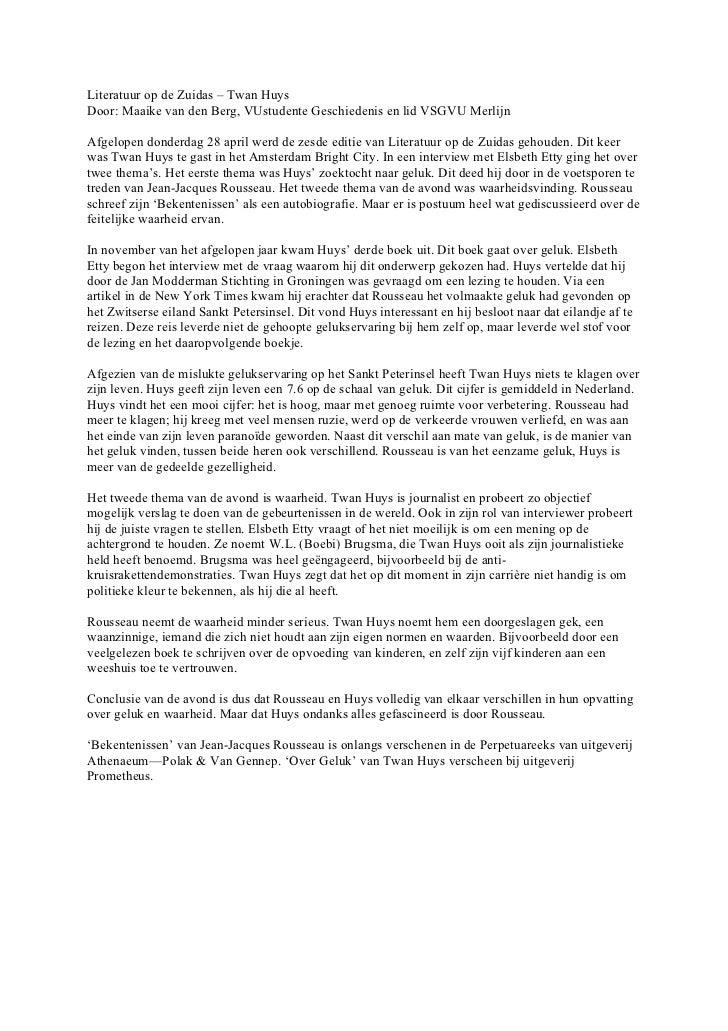 Literatuur op de Zuidas – Twan HuysDoor: Maaike van den Berg, VUstudente Geschiedenis en lid VSGVU MerlijnAfgelopen donder...