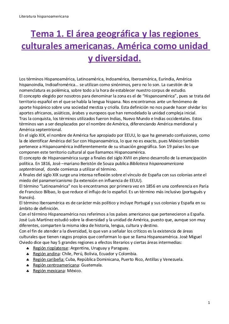 Literatura hispanoamericana   Tema 1. El área geográfica y las regiones culturales americanas. América como unidad        ...