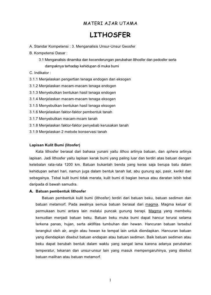 MATERI AJAR UTAMA                                    LITHOSFERA. Standar Kompetensi : 3. Menganalisis Unsur-Unsur GeosferB...