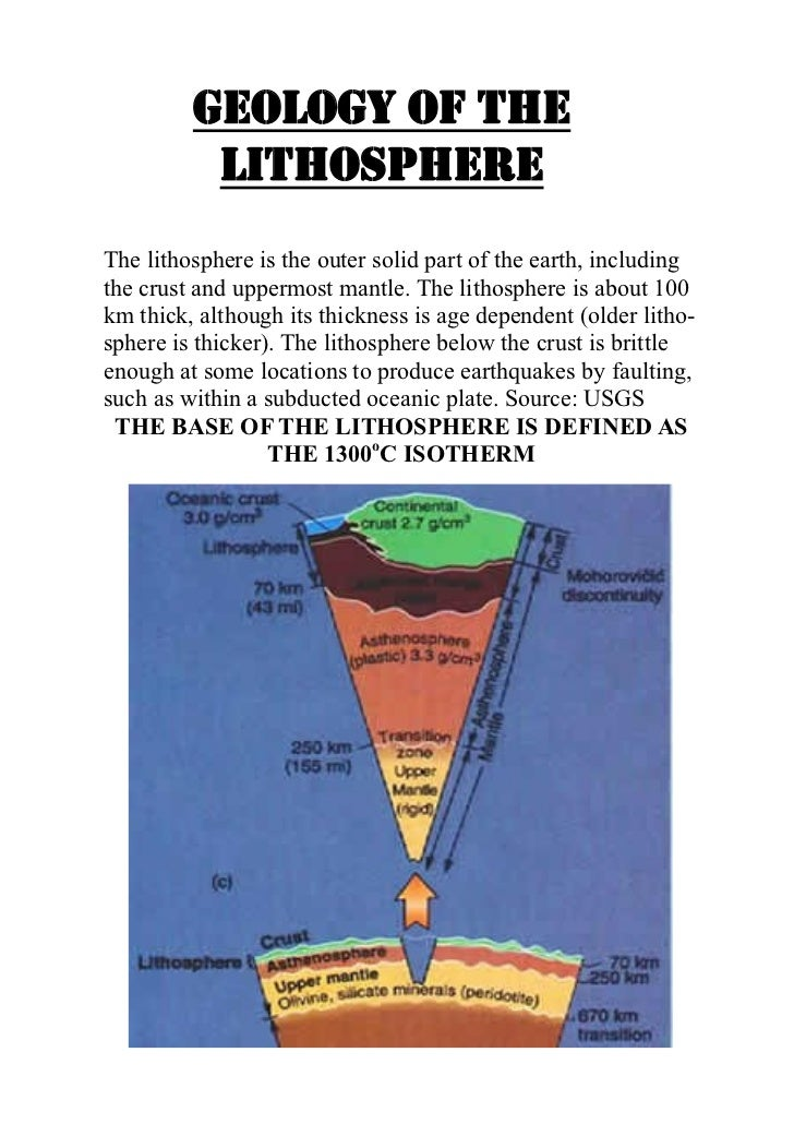 Geology of the          lithosphereThe lithosphere is the outer solid part of the earth, includingthe crust and uppermost ...