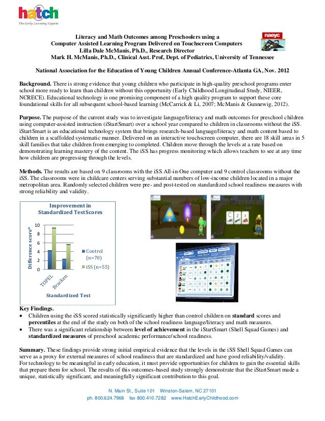 Literacy and Math Outcomes among Preschoolers using a                             Computer Assisted Learning Program Deliv...