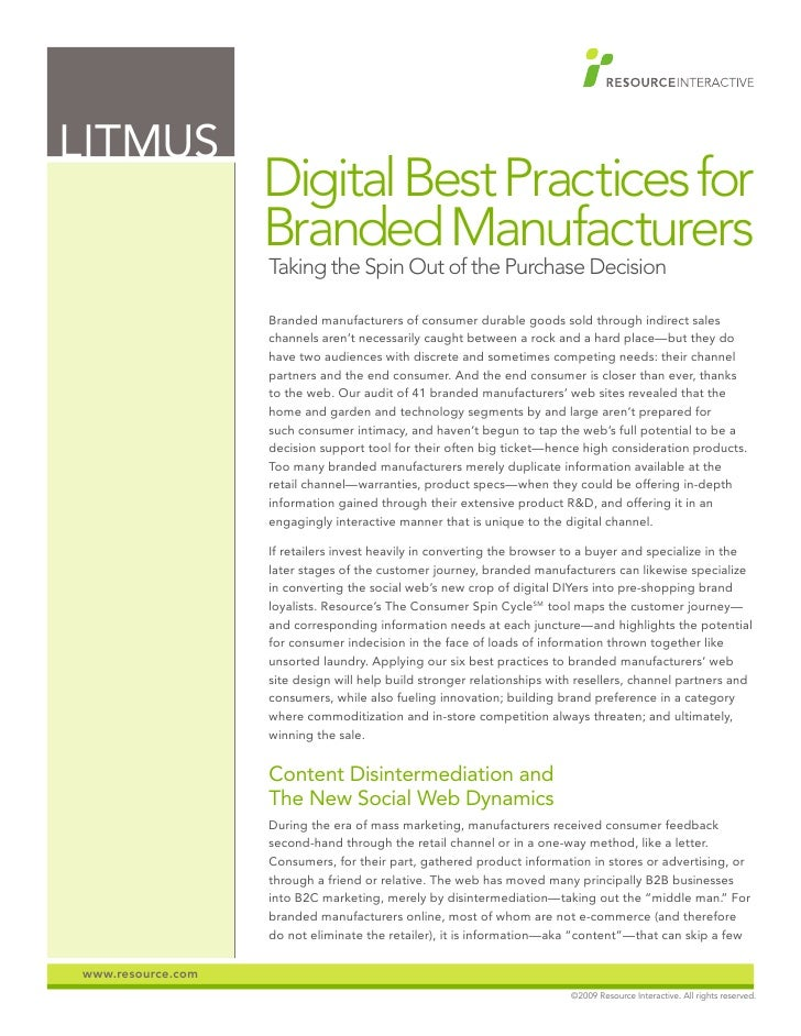 LITMUS                    Digital Best Practices for                    Branded Manufacturers                    Taking th...