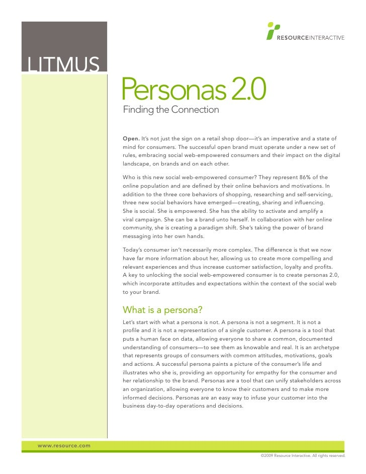 LITMUS                    Personas 2.0                    Finding the Connection                     Open. It's not just t...