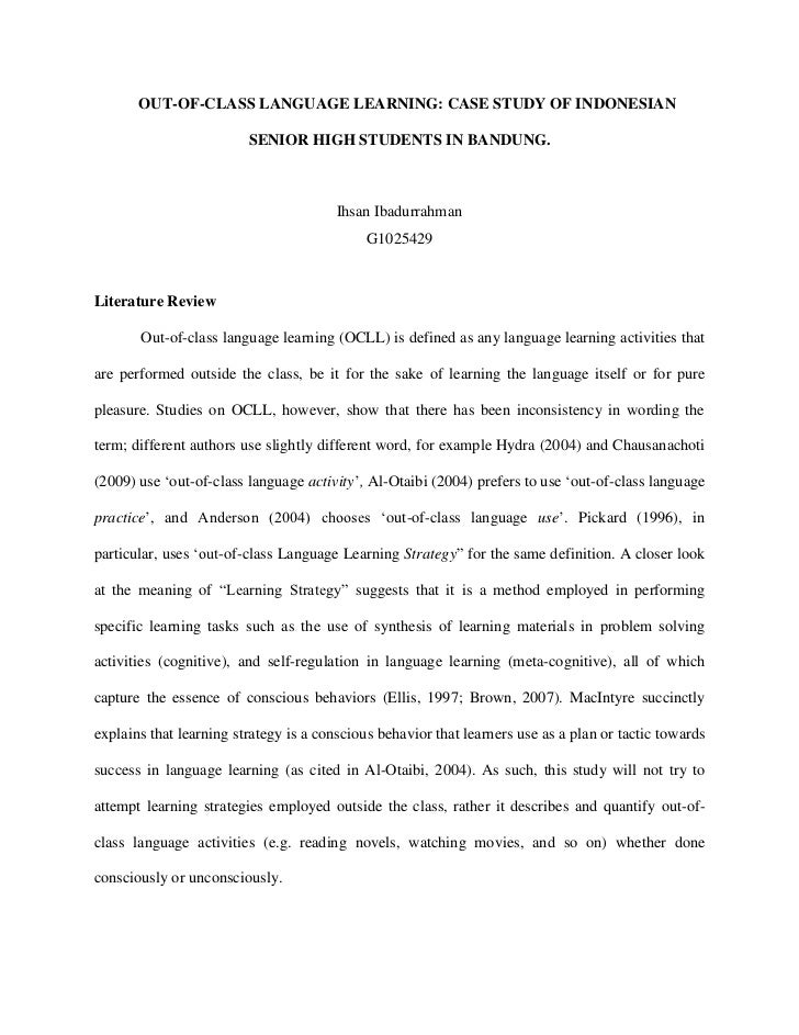 Classroom Design Literature Review ~ Out of class language learning literature review