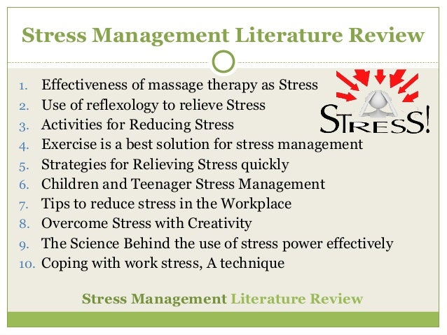 literature review on stress managemant