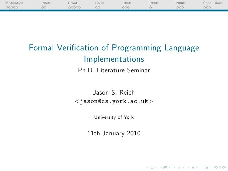 Formal Verification of Programming Languages