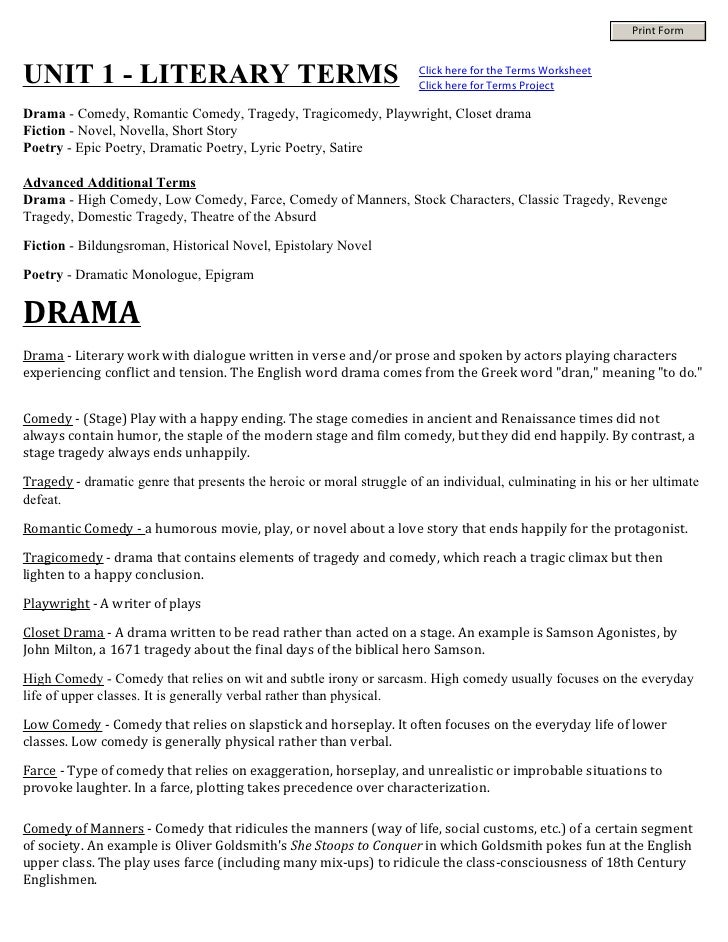 Print FormUNIT 1 - LITERARY TERMS                                               Click here for the Terms Worksheet        ...