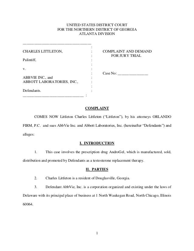First LowT Complaint filed in Georgia Punitive Damages