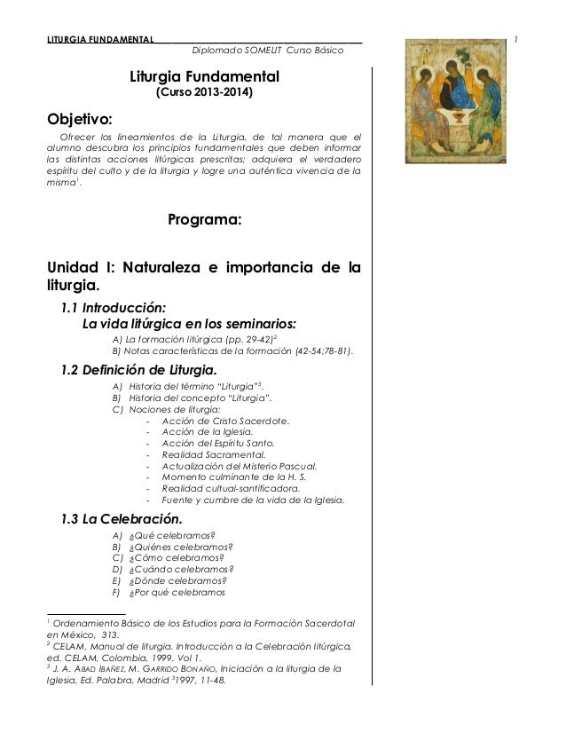 LITURGIA FUNDAMENTAL_____________________________________________ Diplomado SOMELIT Curso Básico Liturgia Fundamental (Cur...