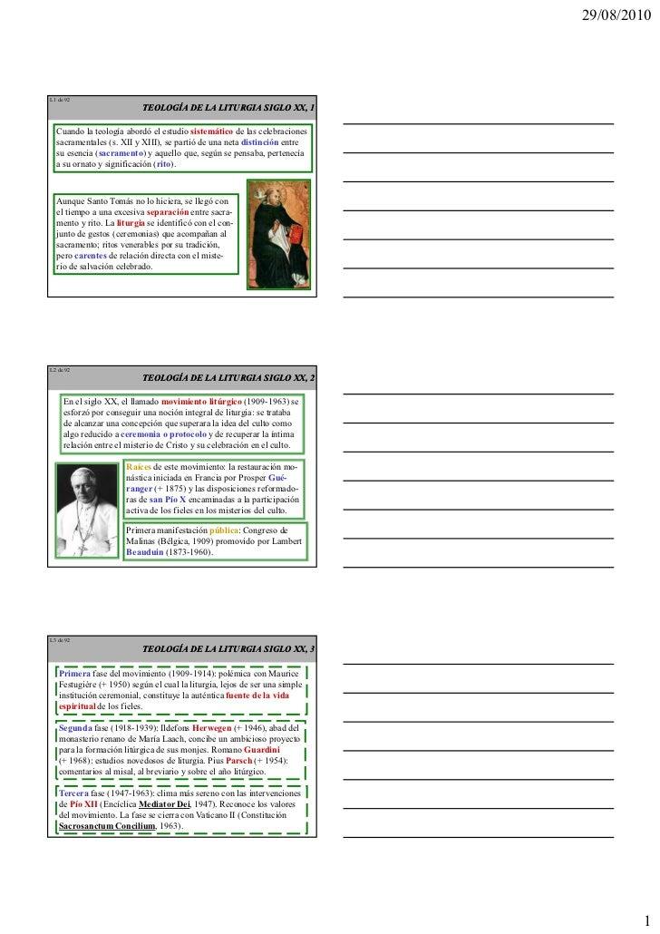 29/08/2010L 1 de 92                            TEOLOGÍA DE LA LITURGIA SIGLO XX, 1   Cuando la teología abordó el estudio ...