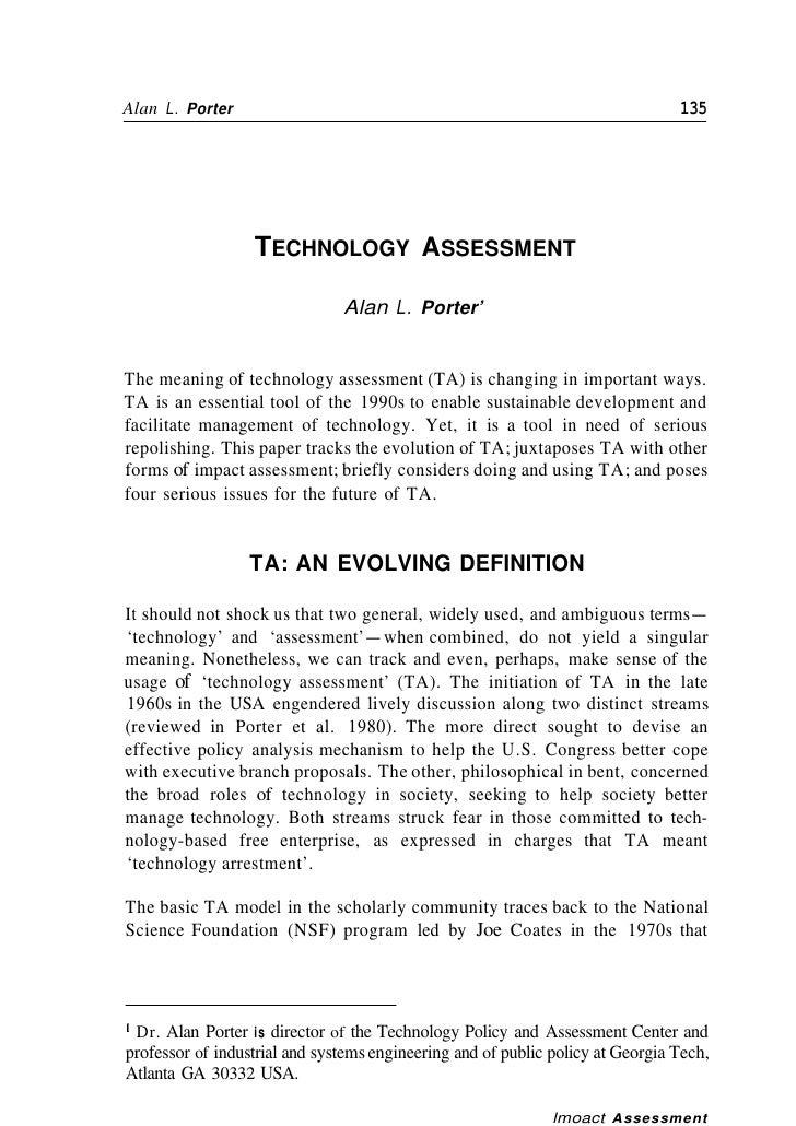 Alan L. Porter                                                                  135                  TECHNOLOGY ASSESSMENT...