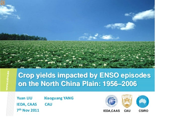 Liu Yuan — Crop yields impacted by enso episodes on the north china plain 1956–2006