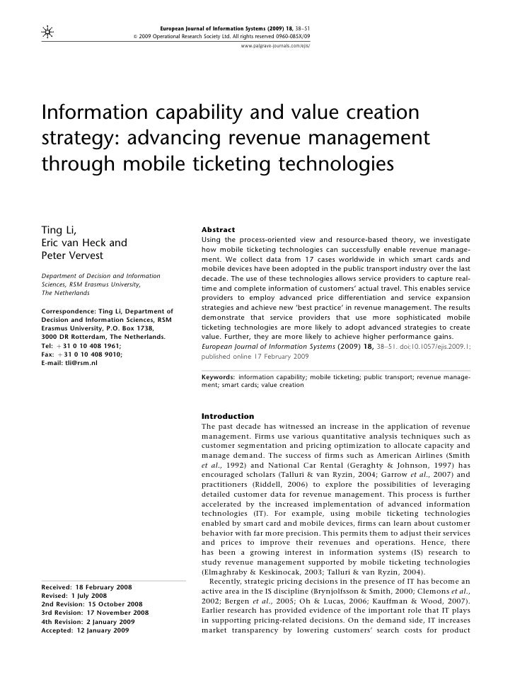 Information Capability and Value Creation Strategy