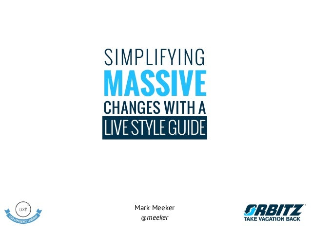 SIMPLIFYINGMASSIVECHANGES WITH ALIVE STYLE GUIDE    Mark Meeker     @meeker