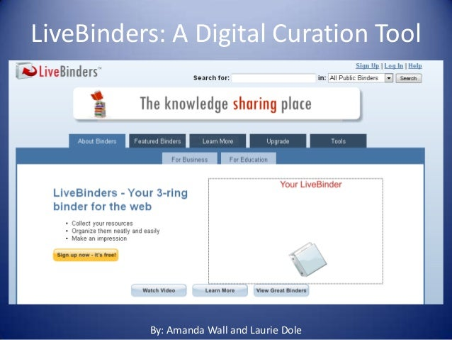 LiveBinders: A Digital Curation Tool• By: Amanda Wall and Laurie Dole              By: Amanda Wall and Laurie Dole