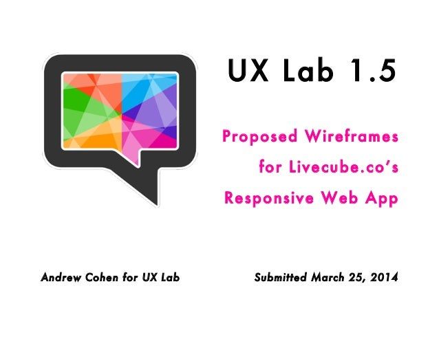 UX Lab 1.5 Proposed Wireframes for Livecube.co's Responsive Web App Andrew Cohen for UX Lab Submitted March 25, 2014
