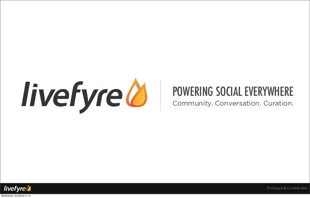 POWERING SOCIAL EVERYWHERE Community. Conversation. Curation.  Privileged & Confidential Wednesday, November 6, 13