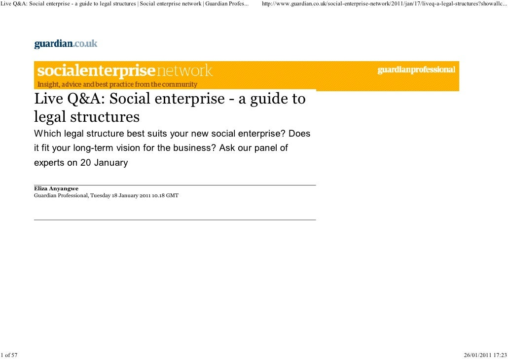 Live Q&A  Social Enterprise   a Guide to Legal Structures - The Guardian: Social Enterprise Network