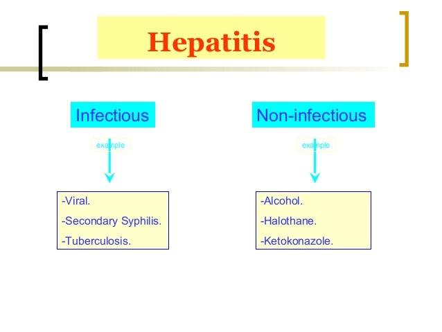 Hepatitis Infectious Non-infectious -Viral. -Secondary Syphilis. -Tuberculosis. -Alcohol. -Halothane. -Ketokonazole. examp...