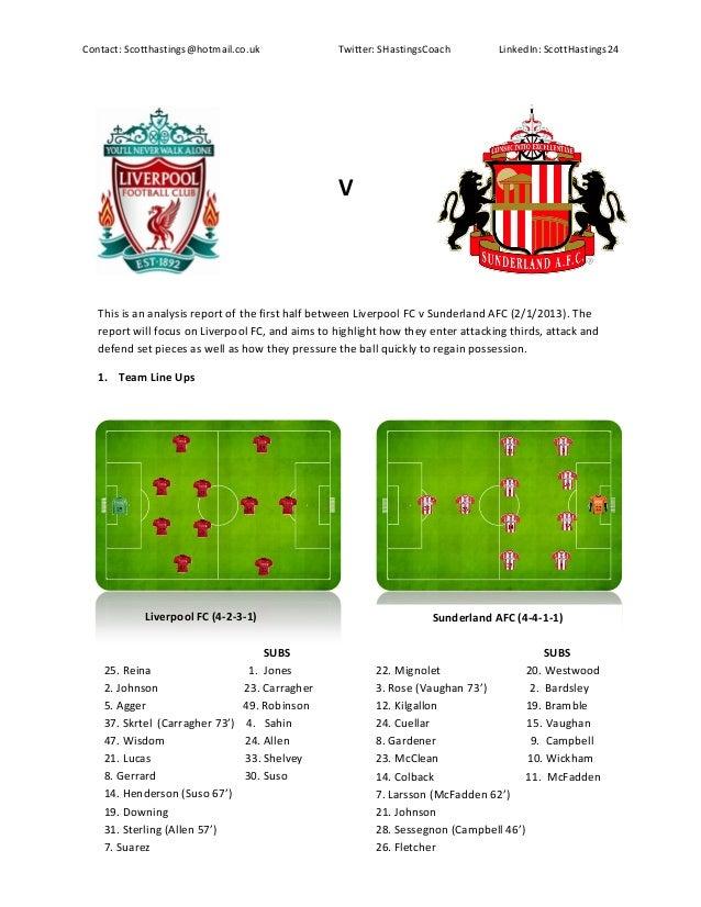 Liverpool FC v Sunderland AFC Analysis