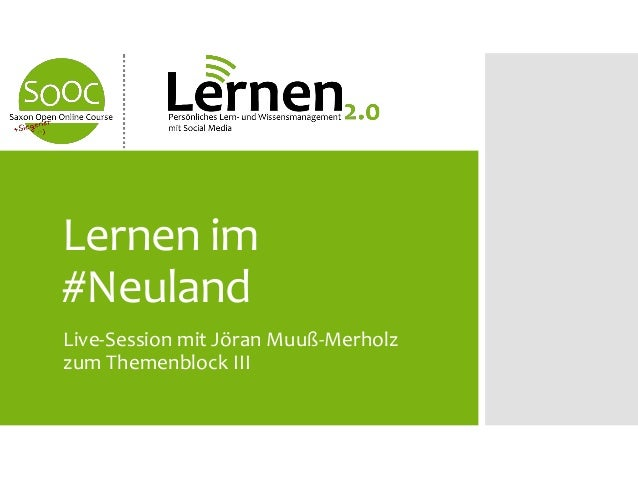 Live-Session mit Jöran Muuß-Merholzzum Themenblock IIILernen im#Neuland