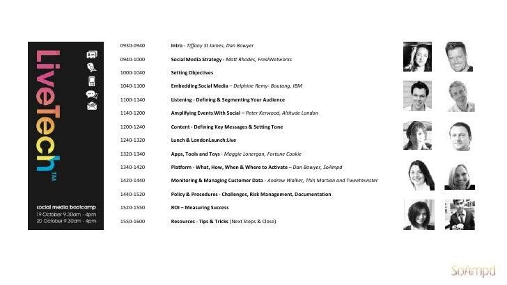 0930-0940   Intro - Tiffany St James, Dan Bowyer0940-1000   Social Media Strategy - Matt Rhodes, FreshNetworks1000-1040   ...