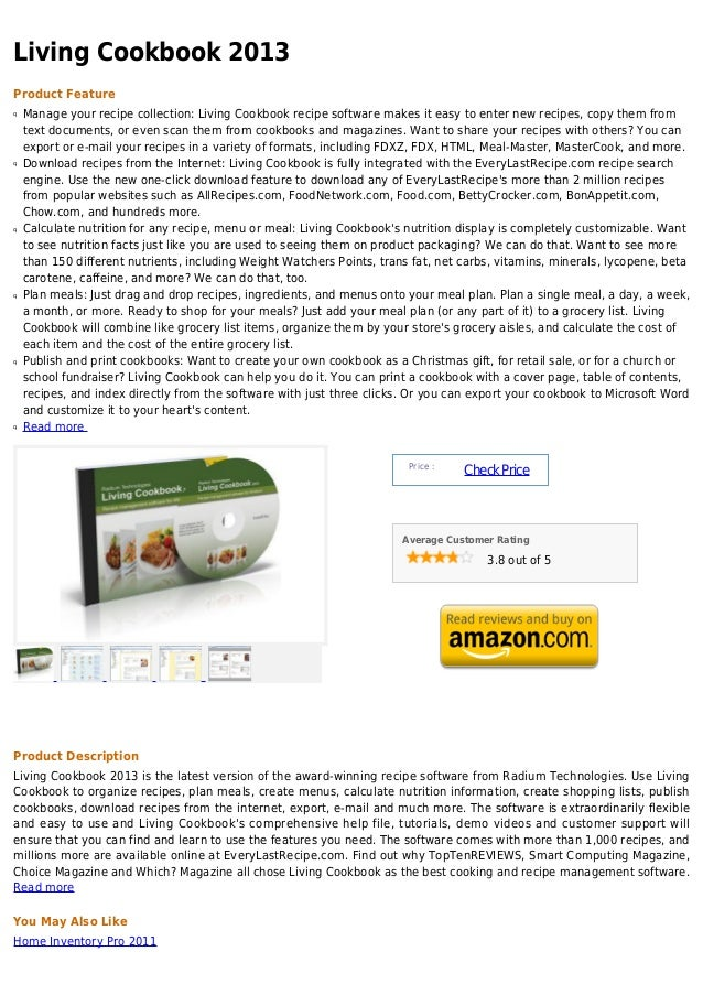Living Cookbook 2013Product Featureq   Manage your recipe collection: Living Cookbook recipe software makes it easy to ent...