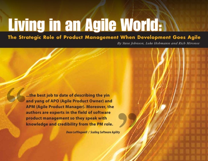 The Strategic Role of Product Management When Development Goes Agile                                                      ...