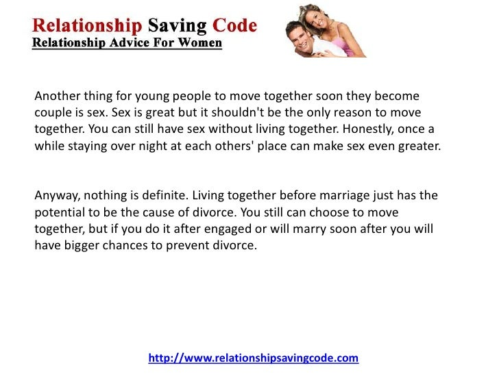 acceptable young people live together before marriage The science of cohabitation: a step toward marriage many more couples view cohabitation as a step toward marriage couples who live together before marriage.
