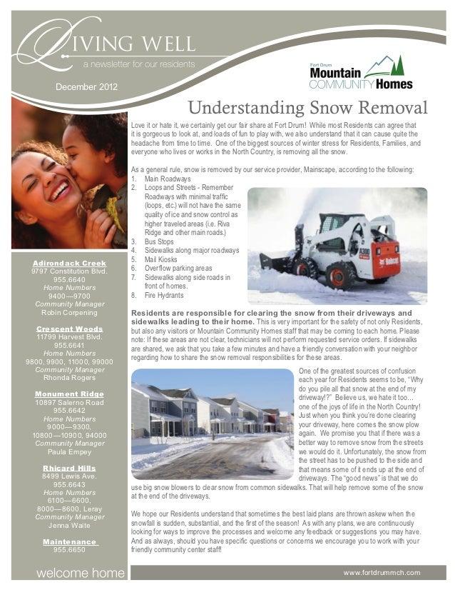 December 2012                                               Understanding Snow Removal                           Love it o...