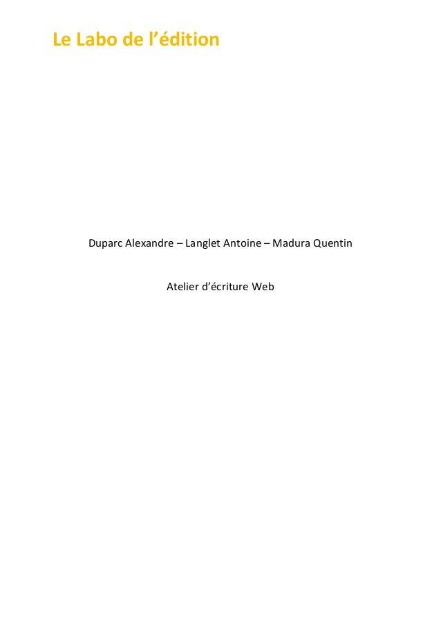 Le  Labo  de  l'édition                                     Duparc  Alexandre  –  Lang...