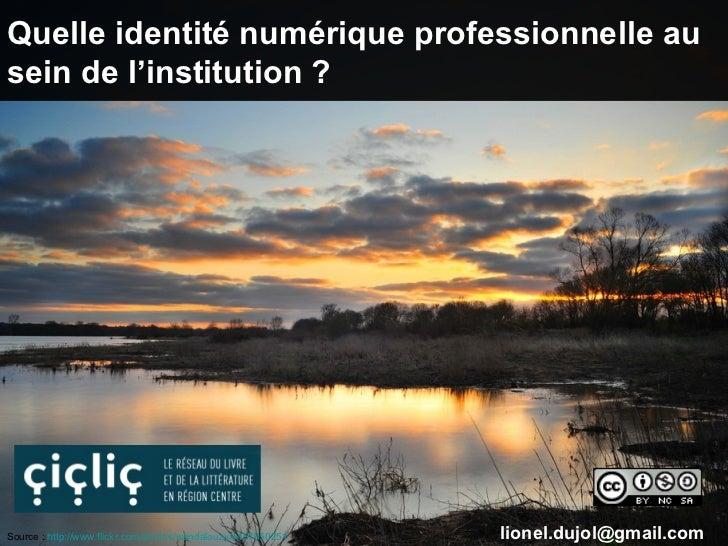 Quelle identité numérique professionnelle ausein de l'institution ?Source : http://www.flickr.com/photos/wandalouzy/445765...