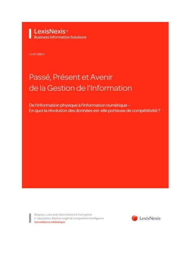 Livre blanc LexisNexis BIS Passe Présent Futur de la gestion de l'information