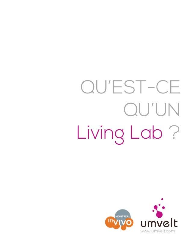 QU'EST-CE QU'UN Living Lab ? www.umvelt.com