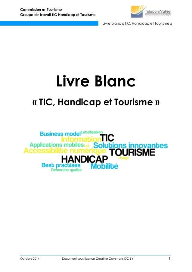 Commission m-Tourisme Groupe de Travail TIC Handicap et Tourisme Livre blanc « TIC, Handicap et Tourisme » Octobre 2014 Do...
