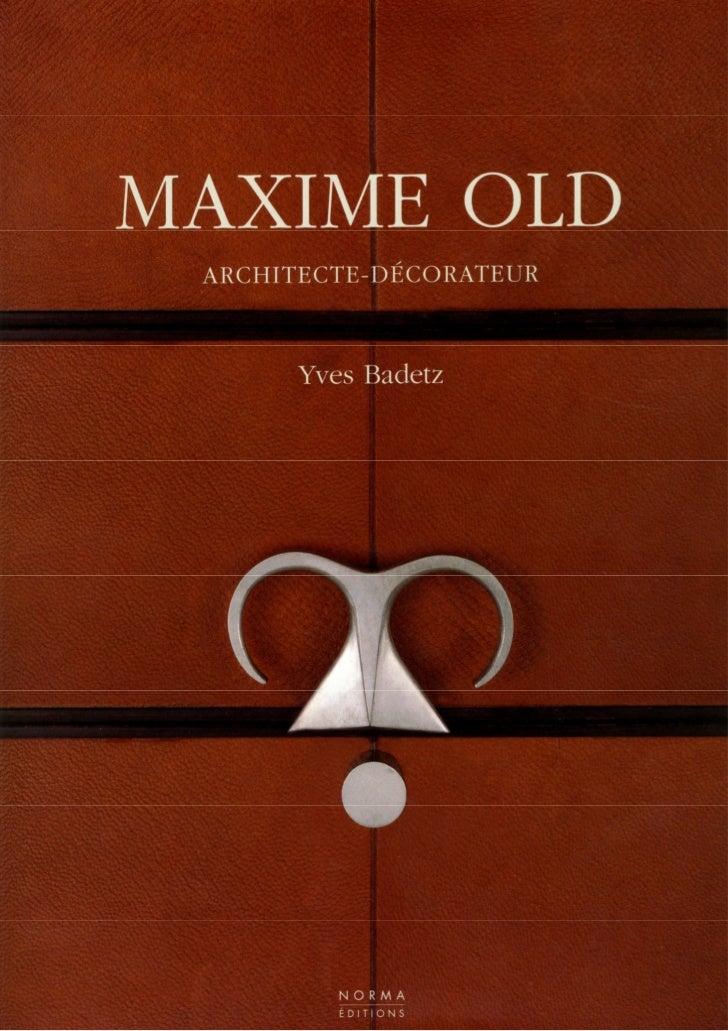 Livre Maxime Old architecte-décorateur (livre)