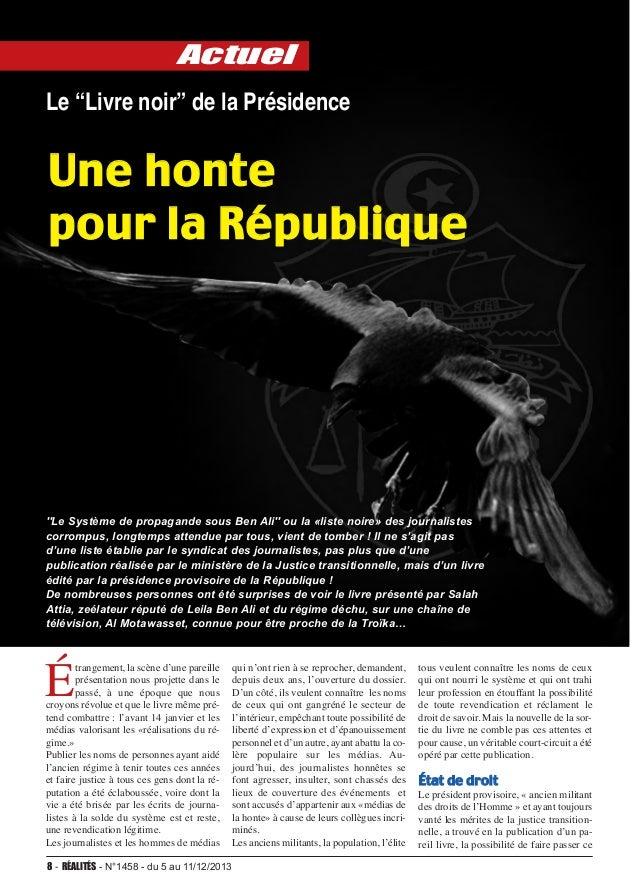 """actuel Le """"Livre noir"""" de la Présidence  Une honte pour la République  ''Le Système de propagande sous Ben Ali'' ou la «li..."""